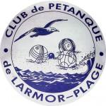Logo du club de Pétanque de Larmor-Plage avec boules, cochonnet et goéland